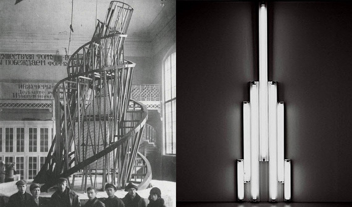 "Vladimir Tatlin, Monument to the Third Internationa, 1919-1920 and Dan Flavin, ""monument"" to V. Tatlin, 1966/69"