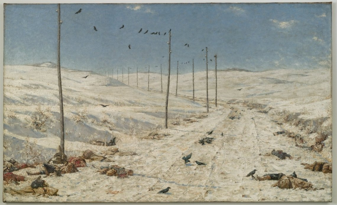 Vasily Vereshchagin, The Road of the War Prisoners, 1878-1879. Oil on canvas, 71 1/4 x 117 11/16 x 2 1/4 in. (181 x 298.9 x 5.7 cm). Brooklyn Museum, Gift of Lilla Brown in memory of her husband, John W. Brown (Photo: Brooklyn Museum, 06.46_PS4.jpg)