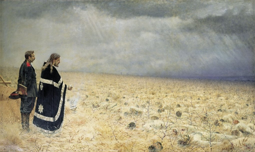 Vasily Vereshchagin, Mourning the Fallen Soldiers, 1878-1879. Oil on canvas, 179,7 x 300,4 см.  State Tretiakov Gallery, Moscow