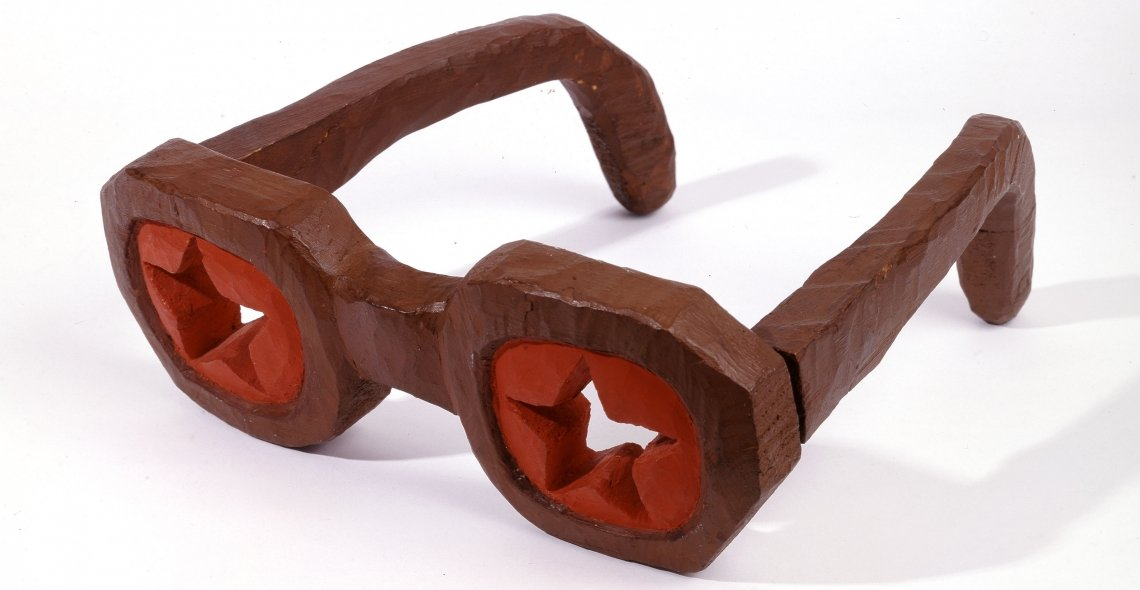 Leonid Sokov, Project to Construct Glasses for Every Soviet Citizen, 1976. Painted wood 11.3 x 33.3 x 31 cm (4 7/16 x 13 1/8 x 12 3/16 in.) Norton and Nancy Dodge Collection of Nonconformist Art from the Soviet Union