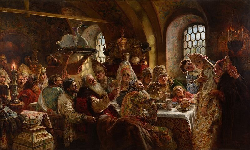Konstantin Makovsky, A Boyar Wedding Feast, 1883. Oil on canvas, 240 cm × 390 cm (94 in × 150 in).  Hillwood Estate, Museum, and Gardens, Washington D.C.